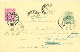 895/25 - Entier Postal Lion Couché + TP 46 BRUXELLES EST 1891 Vers BATAVIA , Indes NL , Réexpédiée à SOERABAJA - Entiers Postaux