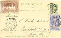 896/25 - Entier Postal Armoiries + TP Expo BRUXELLES 1897 Vers NEUSTADT Allemagne - TB Vignette EXPO - Entiers Postaux