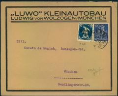 """1922, Werbeumschlag""""LUWO KLEINAUTOBAU"""", München, Fertigte 2 Kleinwagen (small Cars) Zwischen 1921/1924 Advertisement, - Auto's"""