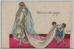 Die Braut Mit Schleppe Und Kinder - Künstlerkarte Navelin Handmade - Noces
