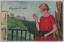Die Frau Auf Dem Balkon - Künstlerkarte Navelin Handmade - Mode