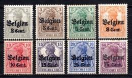 1916 GERMANY GERMAN OCCUPATION IN BELGIUM MICHEL: 10-14, 16-17, 21 MH * - Zone Belge