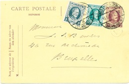 004/26 - Entier Postal REPONSE Houyoux + TP Dito BAD LIEBENSTEIN 1923 ( Allemagne) Vers Bruxelles - Aerogrammes