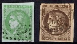 France Bordeaux YT N° 42 Et 47 Oblitérés. Superbes Marges, Premiers Choix! A Saisir! - 1870 Emission De Bordeaux