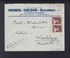 Romania Cover 1930 To Karlsbad - 1918-1948 Ferdinand, Charles II & Michael
