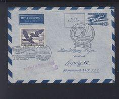 Österreich Umschlag 1954 Nach Leipzig Propaganda Stampel - 1945-60 Briefe U. Dokumente