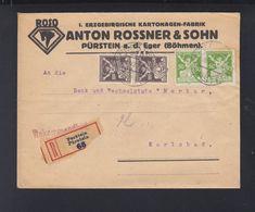 Czechoslovakia Cover 1922 Perstein To Karlsbad - Czechoslovakia