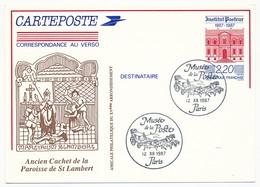 Entier Repiqué - 2,20 Institut Pasteur - Paroisse St LAMBERT (Paris) - Musée De La Poste 1987 - Postal Stamped Stationery