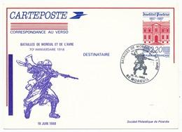 Entier Repiqué - 2,20 Institut Pasteur - Batailles De Moreuil Et De L'Avre - 70eme Anniversaire - 80 MOREUIL 1988 - Postal Stamped Stationery