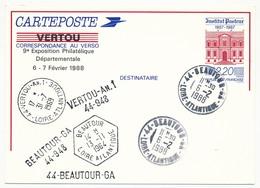 Entier Repiqué - 2,20 Institut Pasteur - 9eme Exposition Départementale - 44 BEAUTOUR GA - 6/2/1982 - Postal Stamped Stationery