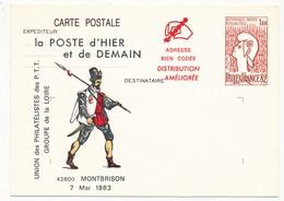 Entier Repiqué - 1,60 Philexfrance82 -UPPTT De La Loire - La Poste D'hier Et De Demain - (neuve) - - AK Mit Aufdruck (vor 1995)