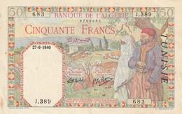 Billet De 50 Francs De Tunisie Du 27 6 1940 - Tunisia