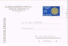 27205. Tarjeta Privada Filatelia LLACH, Barcelona 1970 - 1931-Hoy: 2ª República - ... Juan Carlos I