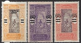 Dahomey  1922-5    Sc#87-9  Set Of  Surcharges  MH*    2016 Scott Value $5.20 - Dahomey (1899-1944)
