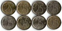 Lot 8 Pièces De 25 Centimes Belgique FR - 02. 25 Centimes