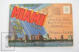 Vintage 1954  Postcard Folder - Souvenir Miami Florida - The Magic City - Miami