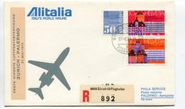 RC 6643 ITALIE 1974 1er VOL ALITALIA ZURICH SUISSE - PALERMO RETOUR FFC LETTRE COVER - 6. 1946-.. Repubblica