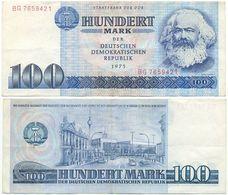 DDR 1975, 100 Mark, Staatsbank DDR, K. Marx, KN 7stellig, Geldschein, Banknote - [ 6] 1949-1990 : GDR - German Dem. Rep.