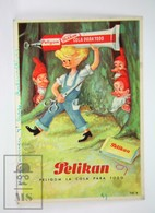 Vintage Illustrated Advertising Blotter Paper - Pelikan Peligom Glue - Boy And Dwarfs - Papel Secante
