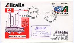RC 6650 ITALIE 1972 1er VOL ROMA - TORONTO CANADA FFC LETTRE COVER - 6. 1946-.. Repubblica