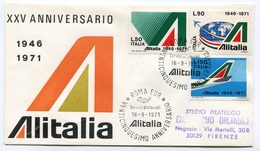 RC 6654 ITALIE 1971 1er VOL ANNIVERSAIRE DE LA COMPAGNIE LETTRE COVER - 6. 1946-.. Repubblica