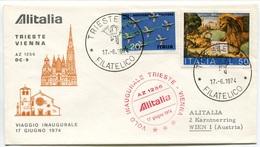 RC 6655 ITALIE 1974 1er VOL TRIESTE - VIENNA AUTRICHE FFC LETTRE COVER - 6. 1946-.. Repubblica