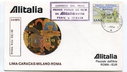 RC 6658 ITALIE 1973 1er VOL LIMA PERU - ROMA RETOUR FFC LETTRE COVER - 6. 1946-.. Repubblica