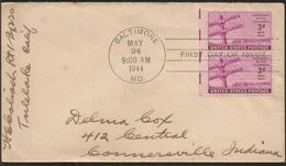 J) 1944 UNITED STATES, CENTENARY OF TELEGRAPH, WITH SLOGAN CANCELLATION, AIRMAIL, CIRCULATED COVER, FROM USA TO INDIANA - Brieven En Documenten
