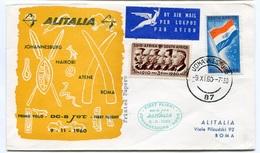 RC 6659 ITALIE 1960 1er VOL JOHANNESBURG AFRIQUE DU SUD - ROMA RETOUR FFC LETTRE COVER - 6. 1946-.. Repubblica