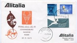 RC 6660 ITALIE 1973 1er VOL JOHANNESBURG AFRIQUE DU SUD - ROMA RETOUR FFC LETTRE COVER - 6. 1946-.. Repubblica