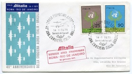 RC 6661 ITALIE 1971 1er VOL ROMA - RIO DE JANEIRO BRESIL FFC LETTRE COVER - 6. 1946-.. Repubblica