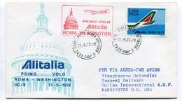 RC 6664 ITALIE 1972 1er VOL ROMA - WASHINGTON USA FFC LETTRE COVER - 6. 1946-.. Repubblica
