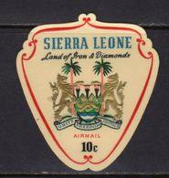 Sierra Leone QEII 1967-9 Decimal Currency Coat Of Arms Self-adhesive 10c Blue Airmail, MNH, SG 433 (BA) - Sierra Leone (...-1960)