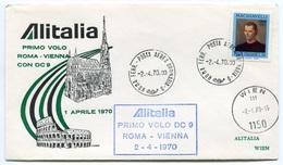 RC 6665 ITALIE 1970 1er VOL ROMA - VIENNA AUTRICHE FFC LETTRE COVER - 6. 1946-.. Repubblica