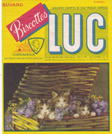 BUVARD LUC Biscottes Chateauroux Chatons Chats Panier Fleurs SIRVEN - Zwieback