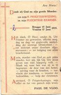 Devotie - Devotion - Priesterwijding Eremis - Paul De Vloo - Brugge - Veurne 1935 - Devotion Images