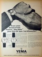 Publicité Papier 1967 - Montres YEMA - Pubblicitari