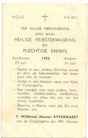 Devotie - Devotion - Priesterwijding Eremis - Pater Willibrord - Hector Ryckewaert - Zandhoven - Wulpen 1952 - Devotion Images