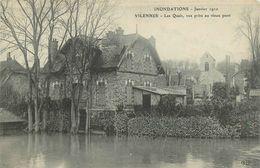78-Villennes Sur Seine : Inondations Janvier 1910 Les Quais Vue Prise Du Pont De Poissy (Pub Maggi) - Villennes-sur-Seine