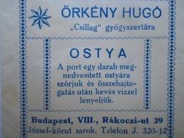 D156452 Pharmacy  Csillag Gyógyszertár  ÖRKÉNY HUGÓ -Budapest  Snall Paper Packet  Ca 1930  Hungary - Pubblicitari