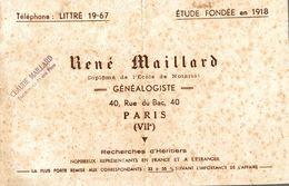 BUVARD GENEALOGISTE RENE MAILLARD A PARIS - Buvards, Protège-cahiers Illustrés