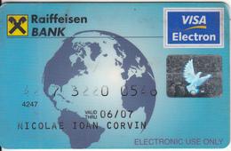 ROMANIA - Raiffeisen Bank Visa Electron, Used - Geldkarten (Ablauf Min. 10 Jahre)