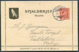 1907 Iceland 10 Aur Lettercard Stationery Reykjavik - Entiers Postaux