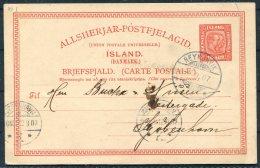 1907 Iceland 10 Aur Stationery Postcard Reykjavik - Copenhagen - Postal Stationery