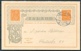 Iceland 3 Aur Stationery Double Reply Postcard Reykjavik - Postal Stationery