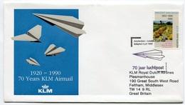 RC 6669 PAYS-BAS KLM 1990 1er VOL AMSTERDAM - LONDRES GRANDE BRETAGNE FFC NETHERLANDS LETTRE COVER - Airmail