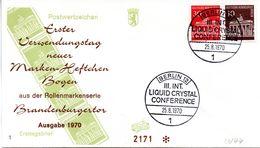 """WB Schmuck-FDC  Freimarken """"Brandenburger Tor"""", Mi. Zdr. W 44 SST BERLIN 12  25.8.1970 - [5] Berlin"""