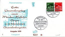 """WB Schmuck-FDC  Freimarken """"Brandenburger Tor"""", Mi. Zdr. W 45 SST BERLIN 12  25.8.1970 - [5] Berlin"""