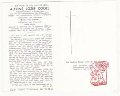 DP Rijkswachter Alfons J. Cools ° Eksaarde 1894 † Lokeren 1963 X B. Van Damme Xx A. Lerno - Devotion Images