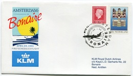 RC 6679 PAYS-BAS KLM 1991 1er VOL AMSTERDAM - BONAIRE ANTILLES NEERLANDAISES FFC NETHERLANDS LETTRE COVER - Airmail